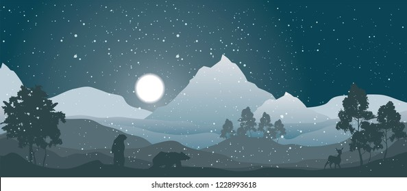 vector winter nature landscape, mountain peaks covered in snow, trees and animals under night snowing sky with bright full moon, christmas  illustration