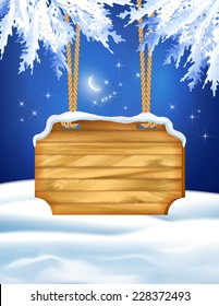 Vector winter night landscape with wooden board, fir tree branches