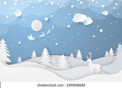 Vector winter night scene in paper cut style with fir trees, stars, deers and santa's sleigh flying around moon. Festive layered background with 3D realistic paper Christmas landscape and snowfall.