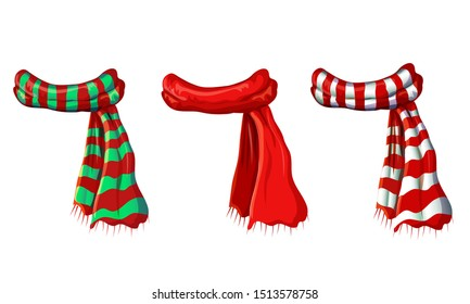 vector winter red scarf collection isolated on white background. illustration of red, green white striped scarves. christmas or holiday wool muffler icon set - winter warming clothes in cartoon style.