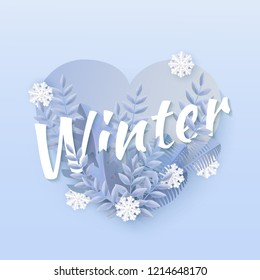 Vector winter sale poster background template with abstract fresh blue leaves and snowflakes in heart shape frame. New year, christmas holidays wallpaper, layout with seasonal florals and icy snow.