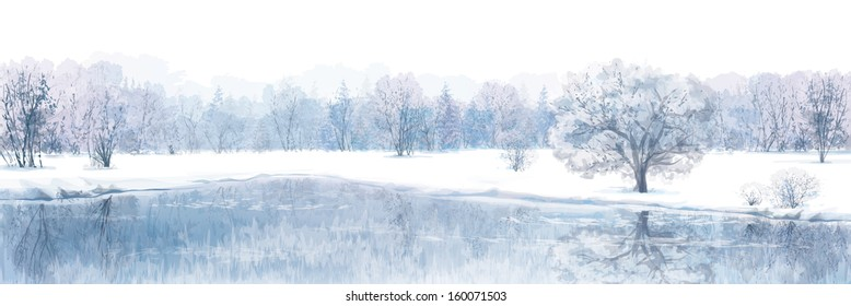 Vector of winter scene with river and forest background isolated on white.