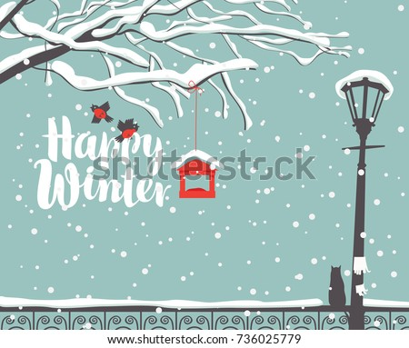 vector winter scene snowcovered park calligraphic のベクター画像