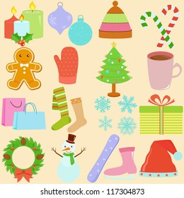 Vector of Winter season, Christmas theme in pastel color, candle, hat, candy cane, gingerbread, shopping bag, present, wreath, snowman. A set of cute and colorful icon collection on cream background