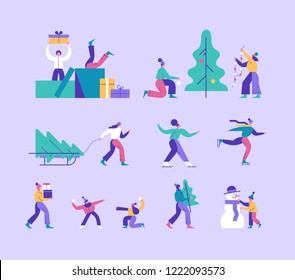 Vector winter season set including various Christmas holidays outdoor activities. People decorating xmas tree, a man carrying gift boxes, children playing snowballs, a couple skating.