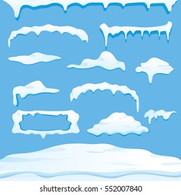 vector winter snow caps  collection isolated on blue background. winter ice border or frame set for winter banner design