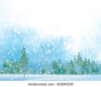 Vector  winter  snow scene with forest background.