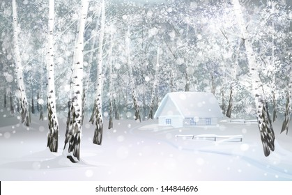 Vector of winter snowy landscape with house in birch forest.