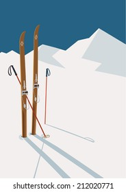 Vector winter themed template with wooden old fashioned skis and poles in the snow with snowy mountains and clear sky on background | Retro looking minimalistic skiing promotion poster template