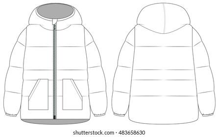vector of winter work hooded jacket. Front and back views.Men winter coat