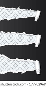 Vector wire fence under ripped paper.