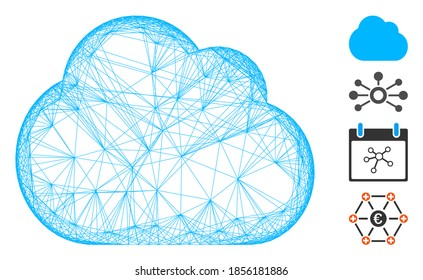 Vector wire frame cloud. Geometric hatched frame flat network made from cloud icon, designed from crossing lines. Some bonus icons are added.