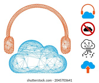 Vector wire frame listen cloud. Geometric wire carcass flat network made from listen cloud icon, designed from crossed lines. Some bonus icons are added.