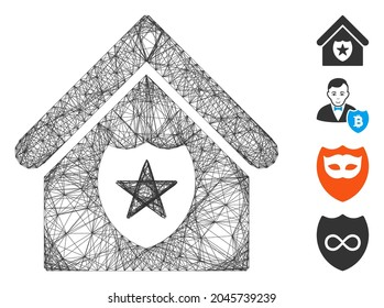 Vector wire frame realty protection. Geometric wire frame flat net based on realty protection icon, designed with intersected lines. Some bonus icons are added.