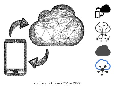 Vector wire frame sync phone-cloud. Geometric hatched frame 2D net made from sync phone-cloud icon, designed from crossing lines. Some bonus icons are added.