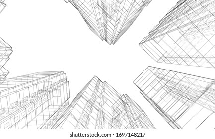 Vector wire-frame model of a multi-storey residential building. Construction concept. Drawing or blueprint style. Vector made from 3d model