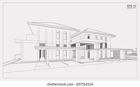 Vector wireframe perspective of tropical modern house exterior. 3D rendering of house.