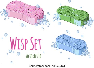 Vector wisp set. Cleaning service logo. Colorful natural soap bubbles isolated on white background.  Art drawing