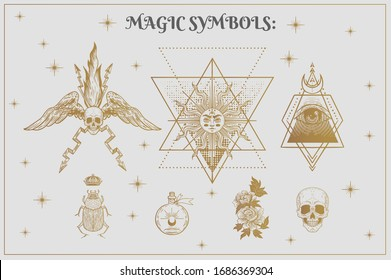 Vector witch and Magic Collection with: eyes, moon, sun, fire, scarab, skull, flowers, glass jar, wings. set of mystical tattoos
