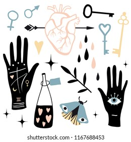 Vector witch magic design elements set. Hand drawn, doodle, sketch magician collection. Witchcraft mystery symbols: heart, arrow, palmistry, arrow, love poison. Perfect for stickers, cards, prints