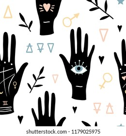 Vector witch magic seamless pattern with eyes, hands, alchemy symbols. Palmistry hand drawn, doodle, sketch magician texture. Witchcraft mystery symbols. Perfect for fabric, wrapping paper