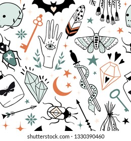 Vector witch magic seamless pattern. Hand drawn, doodle, sketch magician texture. Witchcraft symbols: skull, crystal, eyes, knife, butterfly. Perfect for textile, fabric, paper, Halloween decoration