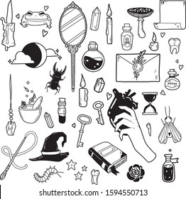 Vector witch magic set. Mystery symbols: mirror, candles, potion, mushroom, book, moon and stars. Hand drawn illustration, flat and cartoon style. For stickers, cards, tattoo, print design, badges.