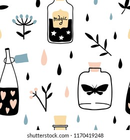 Vector witch seamless pattern with magic cartoon bottles and love potions. Vector illustration. Magic elixir hand drawn texture. Witchcraft symbols:  potion, herbs and flowers