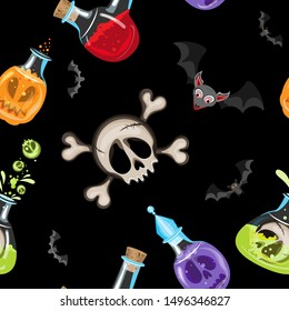 Vector witch's potion seamless pattern. Consists of bottles with various potions and bats, in the center is a skull with crossbones