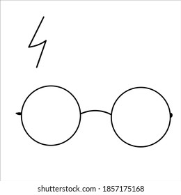 Vector of a wizard boy with glasses, vector isolated. With lightning scar.