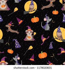 Vector Wizard Witch Friends Seamless Pattern. Surface Pattern Design perfect for fabric, scrapbooking, Halloween, kids, and home decor projects.