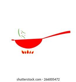 Vector wok pan icon.