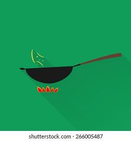 Vector wok pan with long shadow