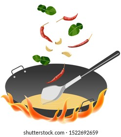 vector of wok pan and spade with ingredients for thai food