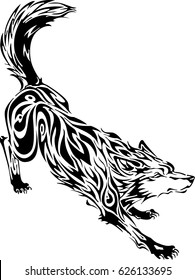 Vector wolf black and white tattoo