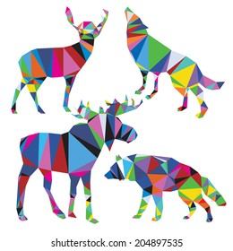 Vector wolf, deer, moose in triangle style. Set