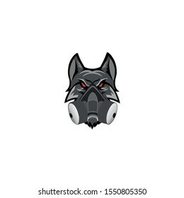 Vector of a wolf head with a gas mask, mascot logo vector, Logo for buttons, websites, mobile apps and other design needs. Vector image of contour label