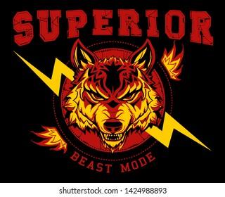 vector wolf head illustration wild animal icon wallpaper poster print tee shirt graphic design
