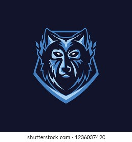 VECTOR WOLF ILLUSTRATION ON A SHIELD FOR ESPORTS LOGO