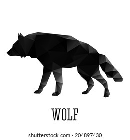 Vector wolf in triangle style. From set
