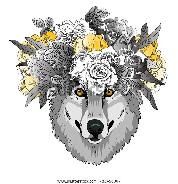 Vector wolf with wreath. Hand drawn illustration of dressed wolf.