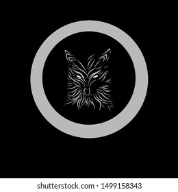 Vector wolf's head as a design hand draw on circle