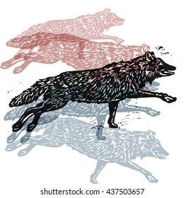 Vector wolves in abstract composition. Lino cut wolves in different colors on white background