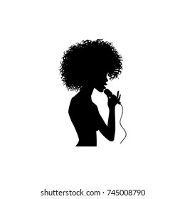 vector woman afro american portrait silhouette singing with microphone. Isolated illustration on white background. Karaoke club design logo elements