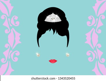 vector retrò woman, Audrey fashion princess minimalist portrait with realistic pearl earrings vector isolated or blue vintage background