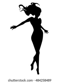 Vector woman  black silhouette over white background, flying pose, isolated