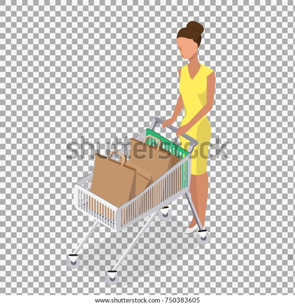 Vector Woman Carry Shopping Cart On Stock Vector Royalty Free