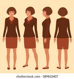 vector woman cartoon character, front, back and side view of secretary