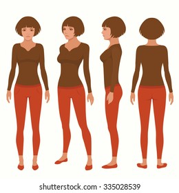 vector woman cartoon character, young girl illustration