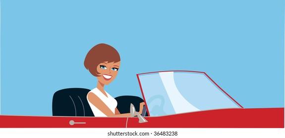 Vector woman driving car